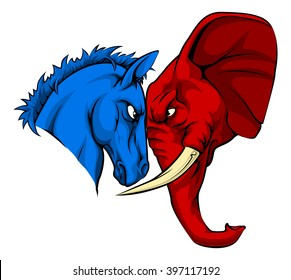 A blue donkey and red elephant facing off. American politics or election concept with animal mascots of the democrat and republican political parties