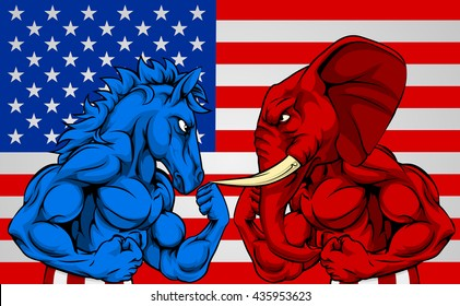 A blue donkey and red elephant fighting in front of an American flag background. American politics election concept with animals