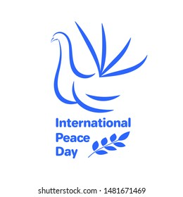 Blue dove on a white background with a branch. Day of peace. Vector stock illustration.