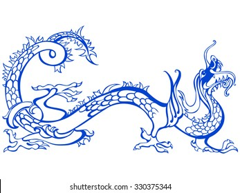 Blue Dragon isolated on White background. Vector illustration