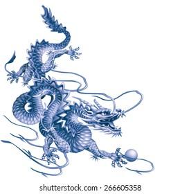 Blue dragon running down diagonally on a white background