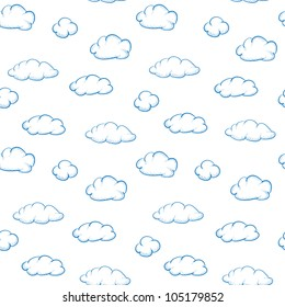 Blue drawing clouds on a white background - seamless vector texture