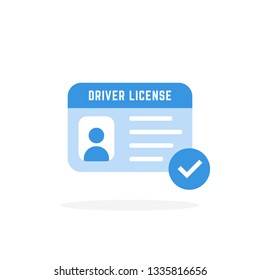 blue driver license card icon. concept of driver's personal documents or simple id card with chip. flat cartoon style trend modern logotype graphic art color design isolated on white background