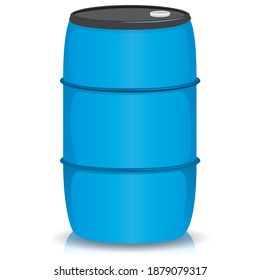 Blue drum or bobbin illustration for liquid products and debris. Ideal for institutional material catalogs