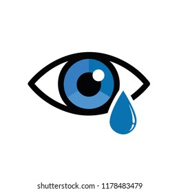 blue dry eye with eye drop icon vector illustration