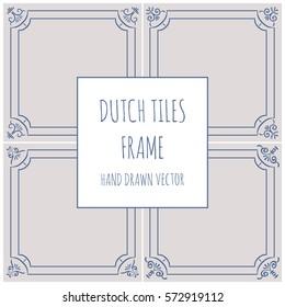 Blue Dutch tile frame. Imitation. Glazed porcelain ceramic.