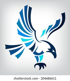 Blue eagle isolated on white background for mascot or emblem design, also a tatoo.