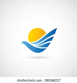 Blue eagle symbol - vector illustration
