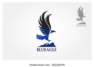 Blue Eagle Vector Logo Template. Vector illustration Blue Eagle flew as a symbol or logo of the company.