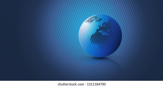 Blue Earth Globe Design Layout with Striped Background - Global Business, Technology, Globalisation Concept, Vector Template
