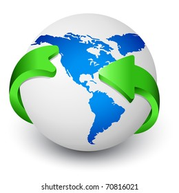 Blue Earth globe with green arrows around