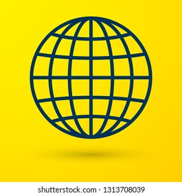 Blue Earth globe icon isolated on yellow background. Vector Illustration