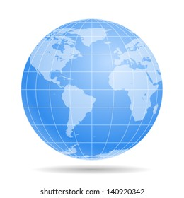 Blue Earth globe - icon isolated on white background. Vector