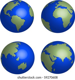 Blue Earth globes set on white background illustration vector