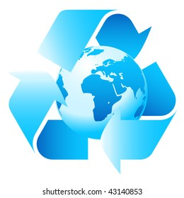 blue earth inside recycle icon