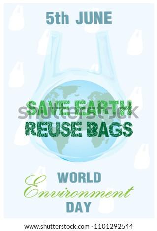 Blue Earth Plastic Bag Slogan Day Stock Vector Royalty Free