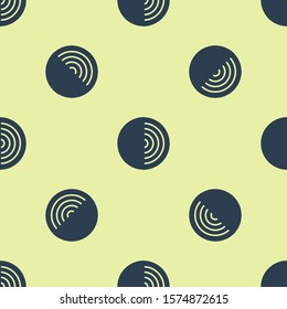 Blue Earth structure icon isolated seamless pattern on yellow background. Geophysics concept with earth core and section layers earth.  Vector Illustration
