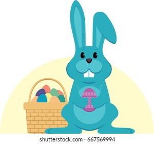 Blue Easter holiday bunny with color collection of eggs
