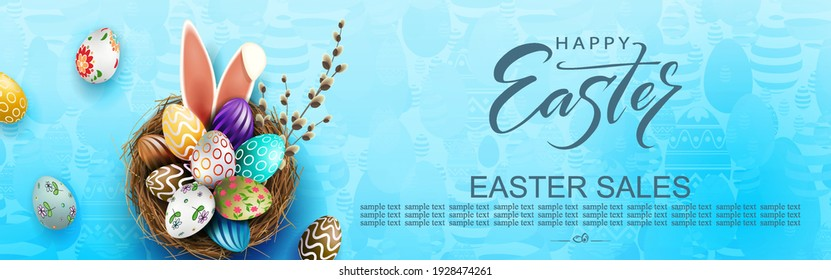 blue Easter illustration, eggs in a nest with a beautiful pattern and bunny ears.