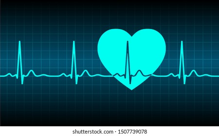 Blue ecg heart beat pulse monitor with signal. Vector illustration icon.