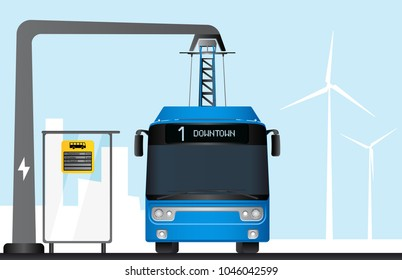Blue electric bus is charged by pantograph. On a bus stop electronic schedule. Vector illustration EPS 10