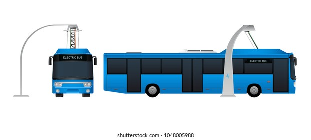 Blue electric bus with pantograph is charging on a charging station. Vector illustration EPS 10