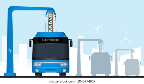 Blue electric bus at a stop is charged by pantograph. Two buses on a background. Vector illustration EPS 10