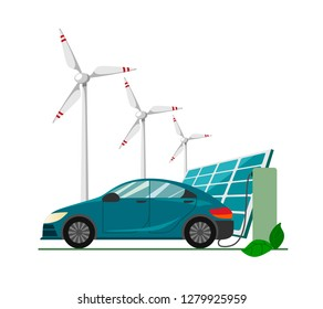 A blue electric car charging at the charger station against the background with wind turbines and solar panels . Electromobility e-motion concept.Flat vector illustration.