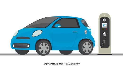 Blue electric car and charging station,modern eco transport concept,flat vector illustration