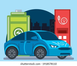 blue electric car station pump battery charge city vector illustration