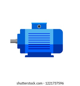 Blue electric motor vector icon