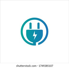 blue electric plugin inside circle vector icon logo design template for high efficiency electric power source