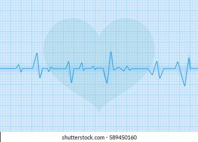 Blue electrocardiogram with heart symbol. Vector 3d illustration