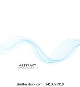 Blue elegant horizontal wave on white background