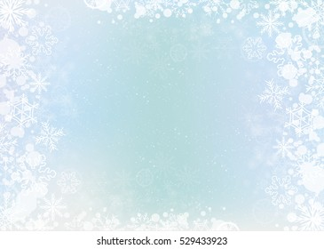 Blue  elegant winter background with the snowflake border