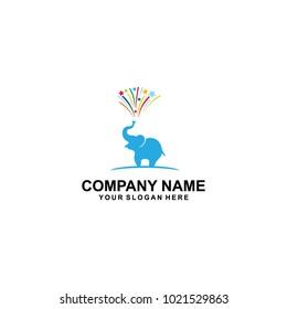 blue elepant one logo design