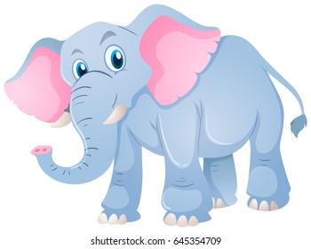 Blue elephant on white background illustration