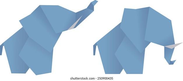 blue elephant origami