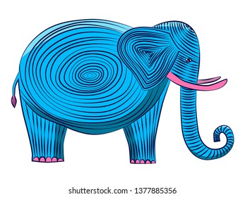 Blue elephant with pink tusks on a white background. An elephant with a spiral in the middle and stripes op the whole body.