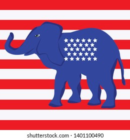 Blue elephant with stars on the background of white and red stripes - vector. US Political Parties. Republican Talisman