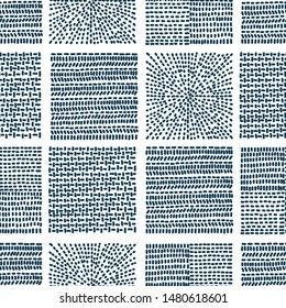 Blue embroidery with linear dashes. Folklore seamless pattern. Can be used in textile industry, paper, background, scrapbooking.