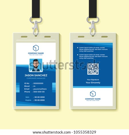 blue employee id card design template のベクター画像素材