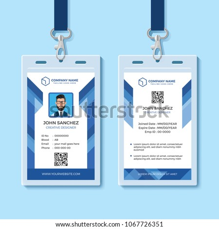 Blue Employee ID Card Template Stock Vector (Royalty Free ...