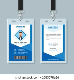 Blue Employee Identity Card Template