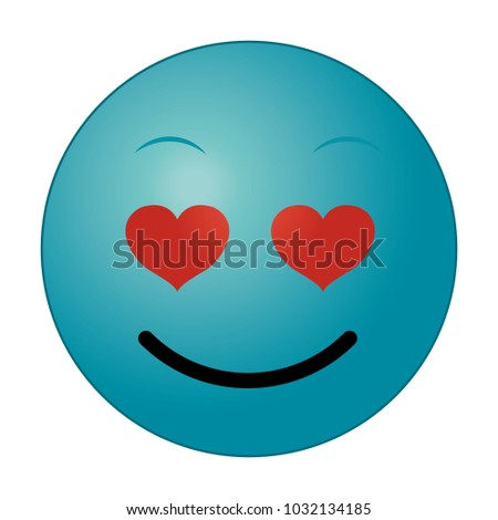 Blue Enamored Face Gesture Emoji Expression Stock Vector Royalty