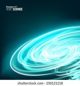 Blue energy tornado abstraction over dark background. Vector illustration.
