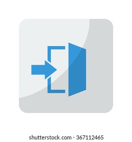 Blue Enter icon on grey rounded square button on white