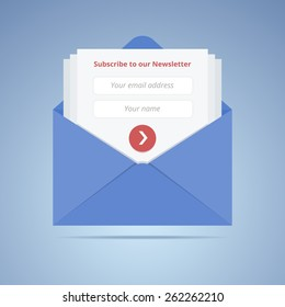 Blue envelope with subscription form in flat style for email marketing or website. Vector illustration.
