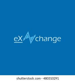 Blue exchange vector logo design with blue background