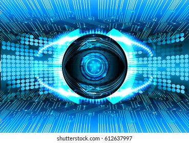 Blue eye cyber security concept background. Circuit
